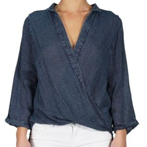 ELAN Denim Cross Front Top Striped 3/4 Sleeve NWT